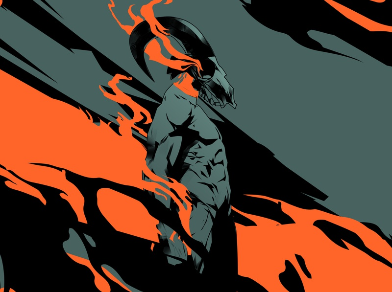 Rising flames muscles body flames skull poster art lines poster illustration laconic composition abstract minimal