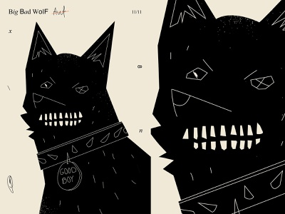 Big bad wolf monochrome smile bad wolf poster art lines poster illustration laconic composition abstract minimal