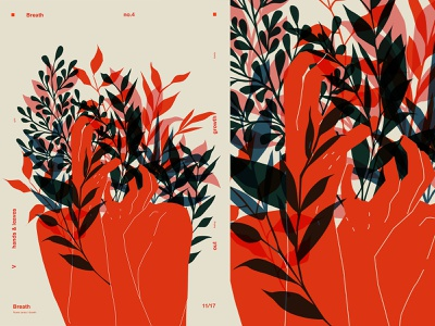 Breath breath floral pattern floral hands figure poster art lines poster illustration laconic composition abstract minimal