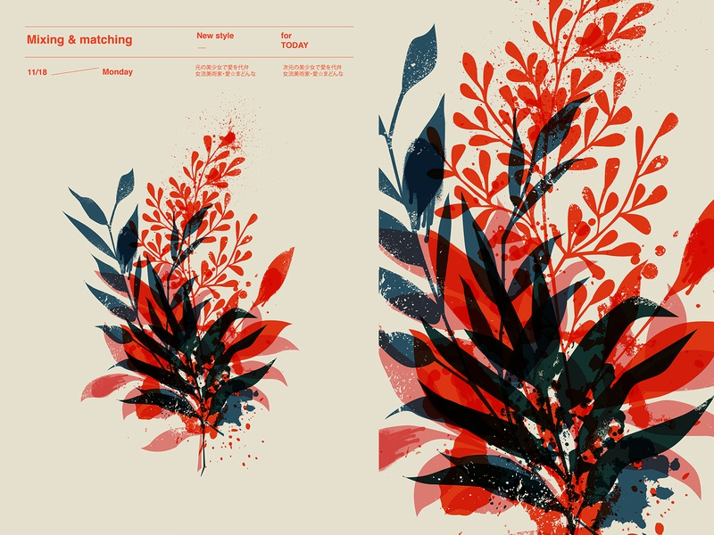 Mixing and matching splash ink flowers floral poster art lines poster illustration laconic composition abstract minimal