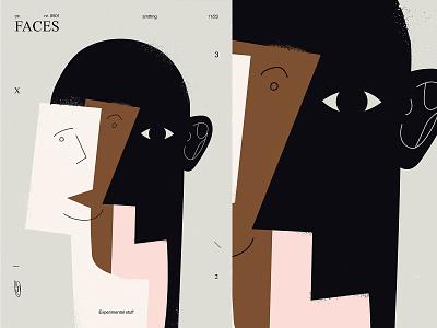 Strange stuff faces portrait eye grunge texture lines poster illustration laconic composition abstract minimal