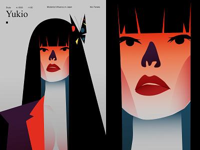 Study grandient asian japan girl illustration poster a day poster art poster illustration laconic composition abstract minimal