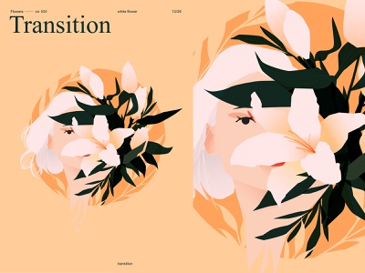 Transition portrait girl illustration girl lily flowers fragment layout poster illustration laconic composition abstract minimal