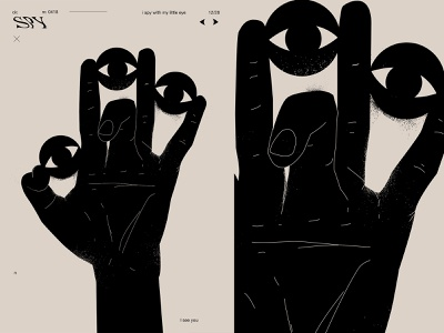 Spy daily grunge texture spy eye hand poster art lines poster illustration laconic composition abstract minimal