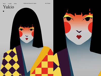 Yukio japanese art girl portrait pattern portrait modern japan layout girl poster art lines poster laconic illustration composition abstract minimal
