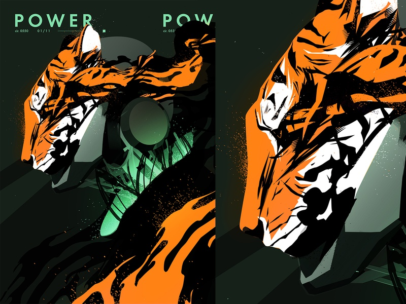 Power grunge texture grunge power robotic robot light splash smokes tiger mecha mechanical fragment poster art poster laconic illustration composition abstract minimal
