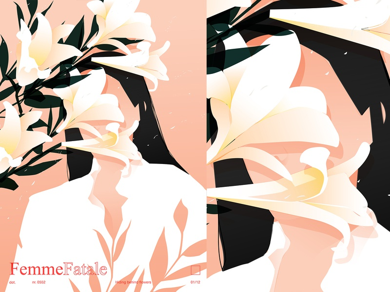 Hidding flowers floral hinding shirt lilly flower womens women in illustration poster laconic illustration composition abstract minimal
