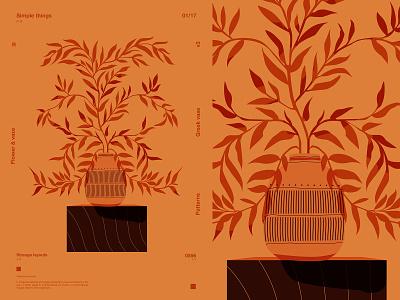 Greek vase flat greek vase vase leaves floral pattern floral poster a day poster art lines poster laconic illustration composition abstract minimal