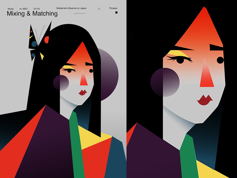 Mixing and matching shapes geisha girl poster a day poster art lines poster laconic illustration composition abstract minimal