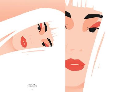 Day dream vector illustration vector portrait art soft girl illustration girl portrait portrait poster a day poster art poster illustration minimal