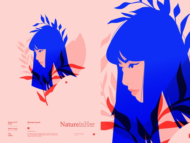 Nature in her everydays layout gird girl portrait portrait woman portrait woman illustration woman girl illustration girl boss floral pattern floral poster art poster laconic illustration composition abstract minimal