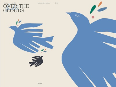 Over the sky cutout bird matisse poster art lines poster laconic illustration composition abstract minimal