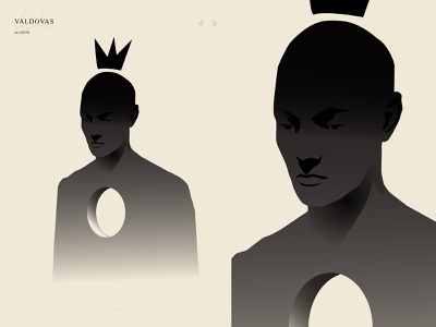Ruler of shadows portrait face hole silhouette man illustration man shadow kings monochrome grandient ruler king poster art laconic illustration poster a day composition abstract minimal