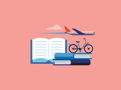 Activ retirement bike books plane retirement magazine press illustration vector