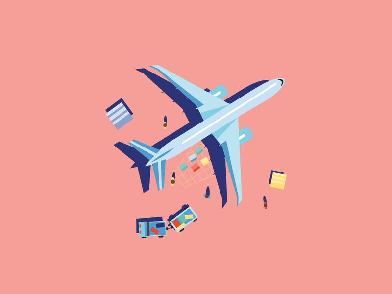 Airplane illustration airport airplane magazine press illustration vector