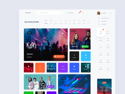 Events Dashboard Template adobe xd