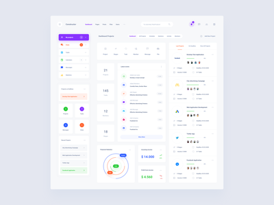 Project Dashboard Template web dashboard ui sketch ux download ui kit