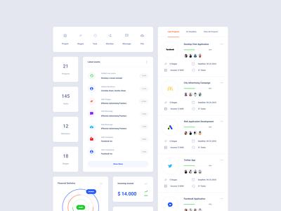 Project Dashboard Cards xd sketch ui kit figma dashboard