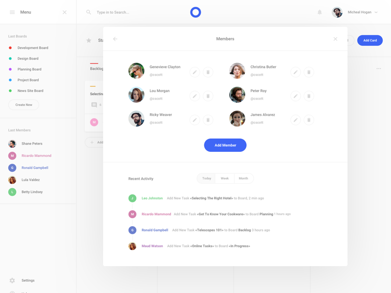 Task 2 Boards Application by Live Spline one on Dribbble