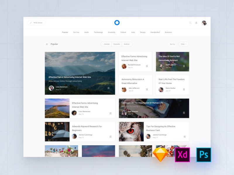 blog templates for photoshop adobe xd and sketch by spline one live