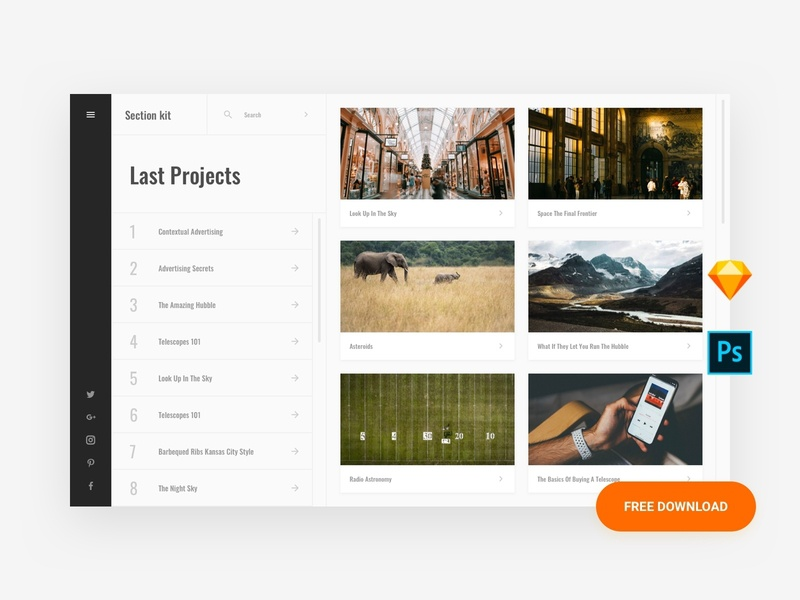 Free Project Template psd ui8 interface admin dashboard base elements style guide symbols xd photoshop sketch ux kit ui kit download template ux ui