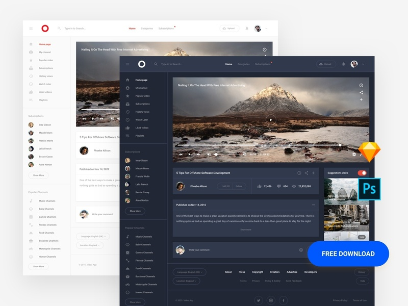 Free Web Template psd ui8 interface admin dashboard base elements style guide symbols xd photoshop sketch ux kit ui kit download template ux ui