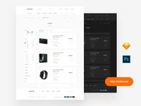 Free Tempalte interface symbols dashboard web psd download ui sketch ux ui kit