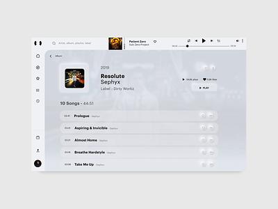 Album page - Resonate neumorphism app music app interactive design animation neumorphism minimalist app interaction graphicdesign ux ui appdesign