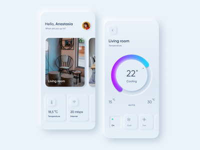 Smart Home App app visual design clean conditioner smart home house smart home app ux mobile design mobile app ui ux design mobile minimal neumorphism skeumorphic skeumorphism skeuomorphic skeuomorphism smarthome ui ux