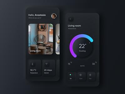 Smart Home (Dark Neumorphic) ux  ui skeuomorphic skeumorphism neumorphism mobile app mobile design ux ui smart home app smart home conditioner minimal visual design dark app dark ui app