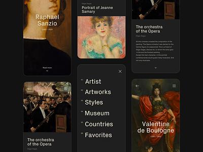 Art History Guide app design app application art mobile app ui ux black minimal painter painting history mobile design
