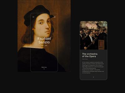 Art History Guide mobile design aplication app minimal history painting painter black ux ui mobile app art app design