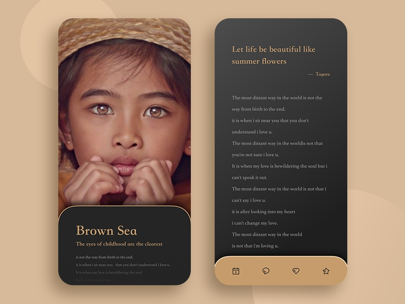Let life be beautiful like summer flowers reading brown verse childhood snowy icon ios ux mobile design app ui