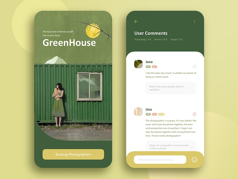 Green House comments green interface icon sketch mobile ios ux snowy design app ui