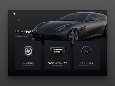 Cars Upgrade Shop Website Concept automotive typography branding vehicle cars car web design website web app design ux ui