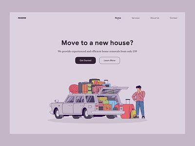 Home Removals Service Web Concept flat typography vector branding minimal illustration website design web design website web ux ui