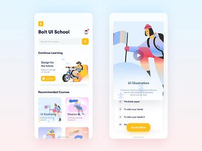 UI Design School Application application app design course edtech education flat typography minimal illustration ios app design ux ui