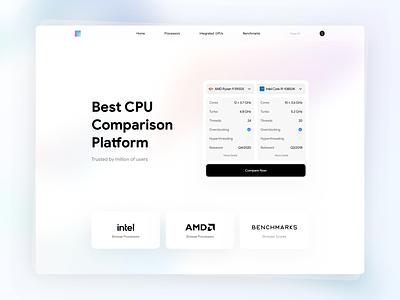 CPU Comparison Platform design fluent design icon ui design ux ui gradient web design website web