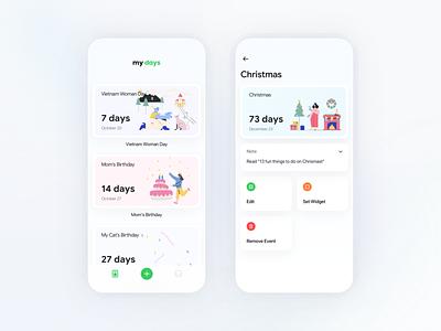Day Countdown Mobile App Design illustrator flat illustration minimal ios app icon design ux ui
