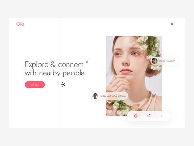 Minimal Mobile Dating App Landing Page white clean website design web design website web badoo tinder dating app dating pink branding illustration minimal icon app design ux ui