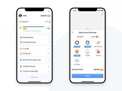 Roab -  Traffic Rescue app concept grab uber map profile gamification blue icon set icon design iconography icons typography branding logo illustration ios app ux icon design ui