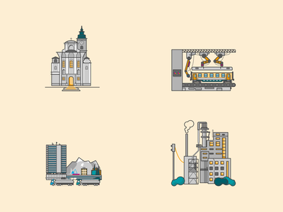 Industrial building illustrations