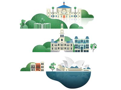 Sydney icons vector illustration sydney map landmark building icon