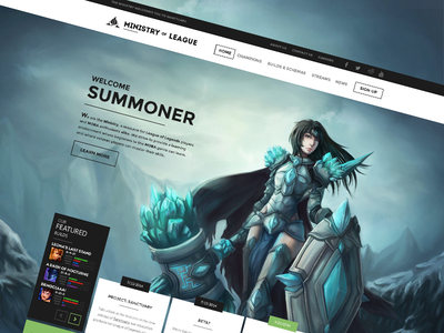 Ministry of League Website Design ministry of league league of legends gaming blue taric summoner champions