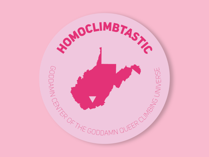 Homoclimbtastic sticker west virginia new river gorge state park logo queer lgtbqia gay pride illustration sticker