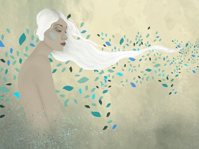 Wild is the wind leaves wind wild digital paint girl illustration