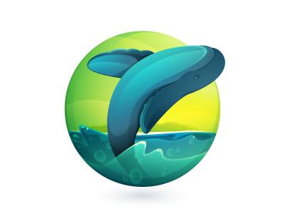 Palo Santo mark logo mark whale travel ecuador blue green water