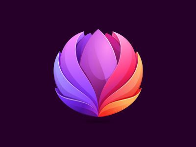 Lotus icon yoga lotus branding illustration mark logo