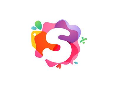 Sale icon percent bag heart bubble icon overlapping multicolor watercolor letter s sale mark logo