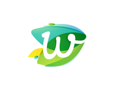 W + leaves watercolor overlapping eco letter w leaf green mark logo